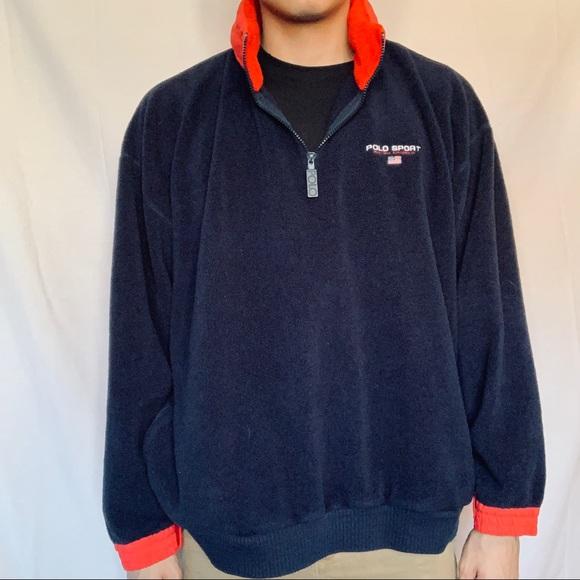 28e291d6447 🏆Vintage Polo Sport Zip Away Hood 1/4 Zip Fleece
